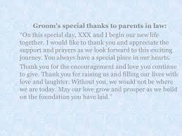more exles of special thanks from bride and groom to pas longer letters
