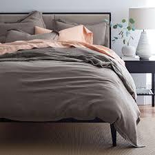 comfort wash solid shale linen king duvet cover