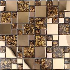 gold stainless steel backsplash for kitchen and bathroom metal and glass mosaic tile patterns shower