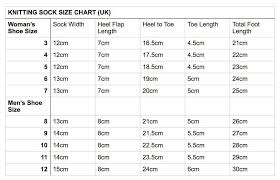 Adult Sock Knitting Size Chart Uk Knitting Socks Kids