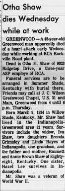 Obituary for Otha E. Shaw (Aged 45) - Newspapers.com