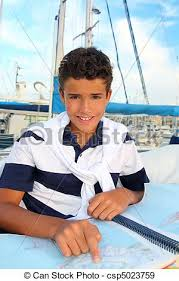 Boat Chart Boy Teen Sailorsitting On Marina Boat Chart Map