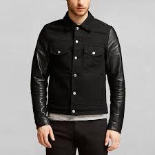 beckham for belstaff men s stockfield denim jacket with leather sleeves black image 2