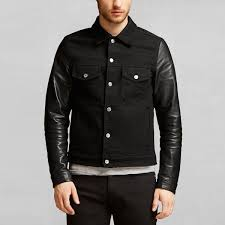 beckham for belstaff men s stockfield denim jacket with leather sleeves black image 2