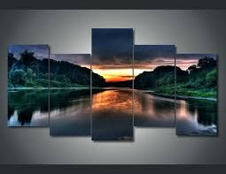 5 panel canvas wall art painting sunrise scenery room decor nt poster picture framed modern ready