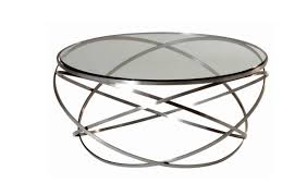 contemporary coffee table glass steel round