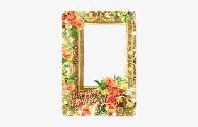birthday frame with a bunch of flowers happy birthday new frame png