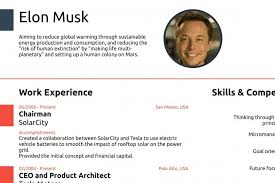 Elon Musk Resume Enchanting Elon Musk Proves You Never Need A CV Longer Than One Page