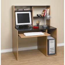 Orion Computer Desk With Hutch, Black and Oak