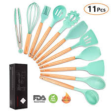 silicone cooking utensils kitchen utensil set mibote 11 pieces acacia wooden cooking tool turner tongs spatula spoon for nonstick cookware best kitchen