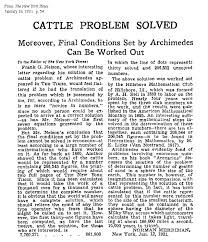 archimedes cattle problem solution  thinking from a letter to