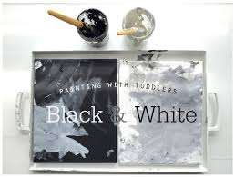painting with toddlers black and white