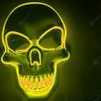 LED Neon Fashion <b>Halloween</b> Party Luminous <b>Mask</b> Yellow Novelty ...