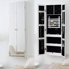 furniture modern wall mounted white jewelry armoire with full length mirror mirrored jewelry armoire