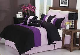 bedspread purple and black bedding sets ease with style white impressions piece luxurious comforter full