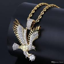 whole luxury eagle pendant silver gold chain hip hop jewelry designer jewelry rope chain iced out chains mens necklace star pendant necklace glass