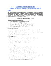 Duties Of A Warehouse Worker For Resume New Warehouse Job Resume