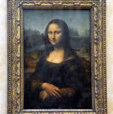 louvre museum paris france the famous mona lisa painting from inside the louvre