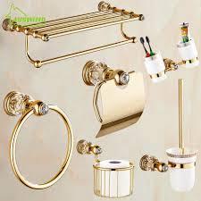 Solid Brass Crystal Bathroom Accessories Set Polish Finish Gold