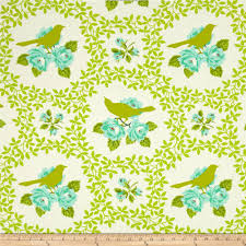 Heather Bailey Up Parasol Mockingbird Chartreuse from @fabricdotcom  Designed by Heather Bailey for Free Spirit
