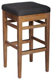 buckingham backless wooden bar stool with smoke fabric 26 counter height