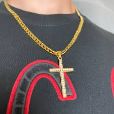 Iced twisted snake with eye of horus ankh pendant in gold. Iced Out Gold Cross Pendant Cuban Chain Gold Iced Depop
