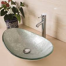 bestmart inc modern bathroom oval glass vessel sink bowls with chrome faucet and pop up drain