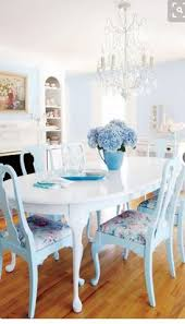 blue cote chairs white table crystal chandy i could totally do this in our living room