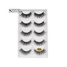 Fake Eyelash Size Chart Shidishangpin 5 Pairs Strip Mink Lashes 3d Long False