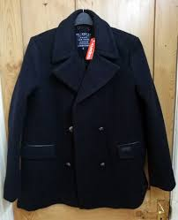 new superdry classic wool pea coat jacket extra large navy