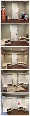 Corner Mudroom Bench Mud Room Batten Board Bench Corner White Cubbies Dyi Fixer