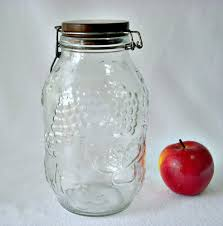 Large Decorative Glass Jars With Lids Fruit Embossed Decorative Glass Jar Wood Top Jar 60 Liter Glass 41