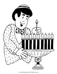 Lighting The Menorah Coloring Page Printable Hanukkah Coloring