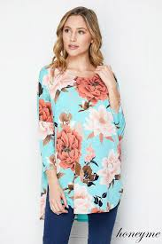 Honeyme Size Chart New Mint Marsala Honeyme Floral Tunic Top Size S M L Lebec