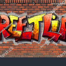 graffiti wall red brick wall sprayed stock ilration