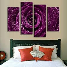 4 pcs set combined flower paintings purple rose modern wall painting canvas wall art picture unframed canvas painting in painting calligraphy from home  on canvas wall art purple flowers with 4 pcs set combined flower paintings purple rose modern wall painting
