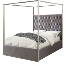 King size Grey Velvet Upholstered Canopy Bed with Chrome Canopy ...