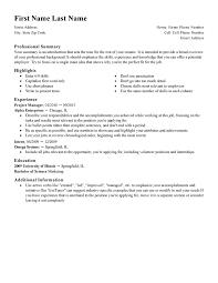 Writing A Resume Template
