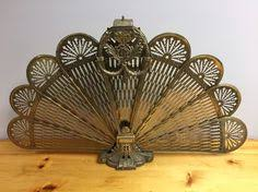 Brass peacock folding fireplace screen | Brass peacock folding ...