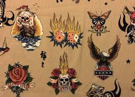 Tattoo Skin by Alexander Henry Biker Ink Skull Tiger Cotton Fabric ... & Tattoo Skin by Alexander Henry Biker Ink Skull Tiger Cotton Fabric Quilt  Fabric Larger Scale W04-275/AH55 Adamdwight.com