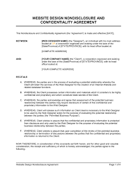 Nda Document Template Website Design Non Disclosure Agreement Template Word Pdf By