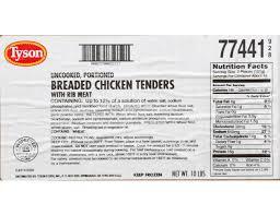 tyson select cut clic breaded en tenderloin 5 pound 2 per case