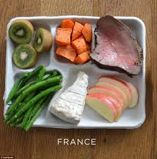 photos of school lunches served around the world reveal how meager brie green beans carrot rare steak and pudding of kiwi fruit and apples