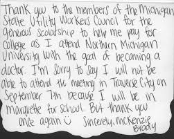 thank you note scholarship hicks scholarship thank you letters michigan state utility workers