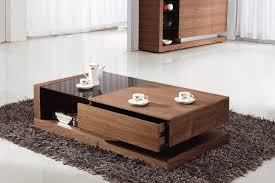 awesome glass modern coffee table sets brown varnished wood coffee table drawer shelves black glass table