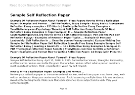 A reflection paper allows you to take a personal approach and express thoughts on topic instead of just providing bare facts. 2