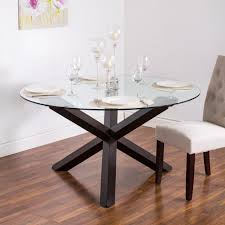 ksp kona round glass dining table walnut kitchen stuff plus for brilliant residence glass round dining room table designs