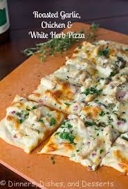 roasted garlic en and herb white pizza