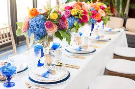 Blue And Gold Table Setting Forever Linked Ponts Des Arts Lock And Key Wedding Ideas