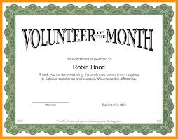 Volunteer Of The Month Certificate Template Volunteer Of The Month